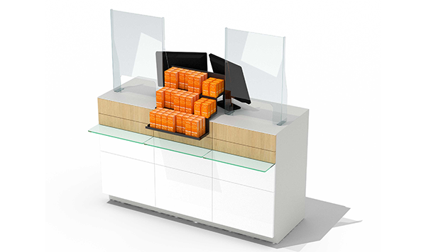 Protection de comptoir en plexiglass