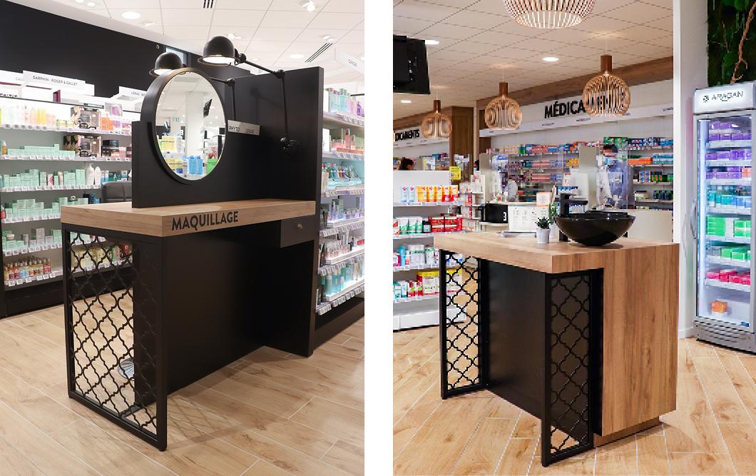meuble maquillage avec Miroir Noir en bois et métal Espace beauté pharmacie des Calins à Cholet