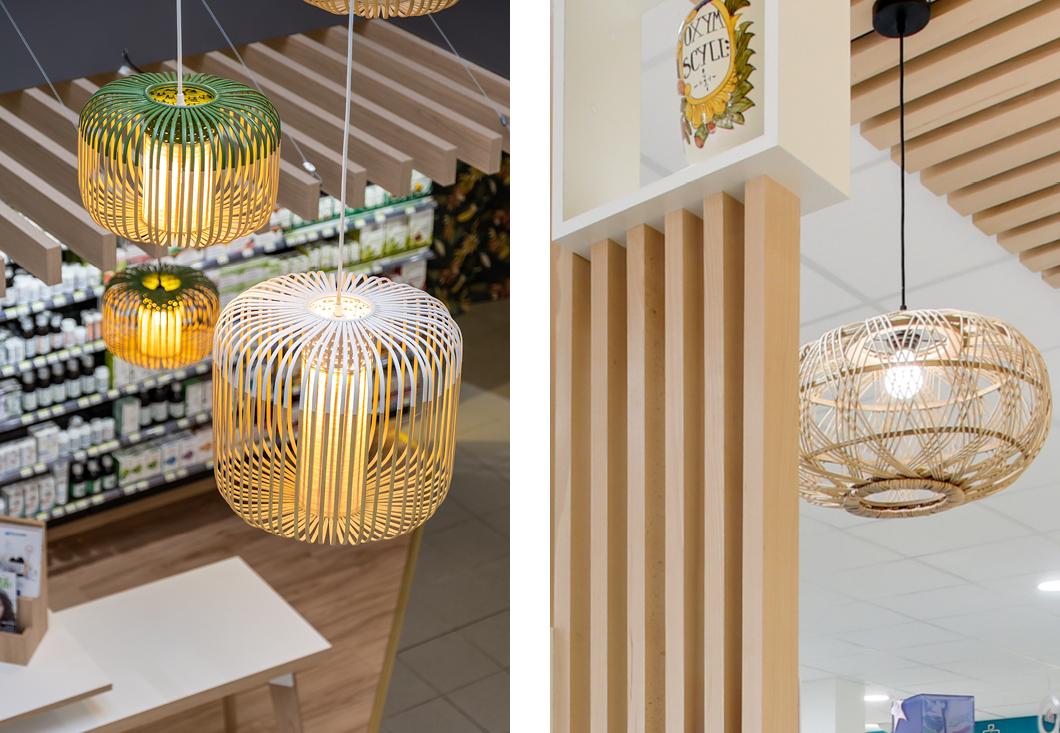 luminaires naturels tressés pharmacie espace nature tasseaux en bois