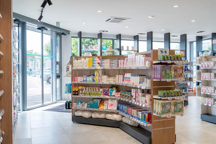 Gondole pharmacie avec angle en marbre et bois pharmacie des Charentes -  Mobil M